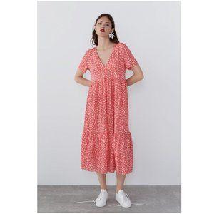 NWT Zara Floral Loose Fit Midi Ruffled Dress